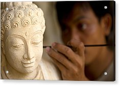 Acrylic Print featuring the photograph Stone Carver - Bali by Matthew Onheiber