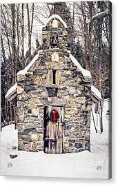 Acrylic Print featuring the photograph Stone Chapel In The Woods Trapp Family Lodge Stowe Vermont by Edward Fielding