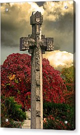 Acrylic Print featuring the photograph Stone Cross In Fall Garden by Lesa Fine