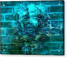 Stone Face Under The Water Acrylic Print by Lilia D
