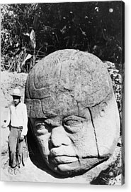 Stone Heads Found In Mexico Acrylic Print by Underwood Archives