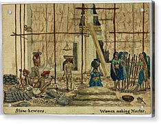 Stone-hewers And Women Making Mortar Acrylic Print by British Library