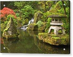 Stone Lantern At Koi Pond Acrylic Print