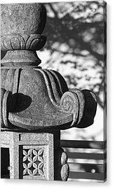 Stone Lantern Detail, Portland Japanese Acrylic Print