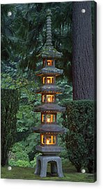 Stone Lantern Illuminated With Candles Acrylic Print by William Sutton