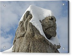 Stone Lion Covered With Snow Acrylic Print by Matthias Hauser