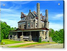 Acrylic Print featuring the photograph Stone Mansion Blue Sky by Becky Lupe