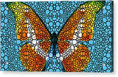 Stone Rock'd Butterfly By Sharon Cummings Acrylic Print by Sharon Cummings