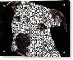 Stone Rock'd Dog By Sharon Cummings Acrylic Print by Sharon Cummings