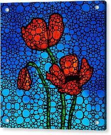 Stone Rock'd Poppies By Sharon Cummings Acrylic Print