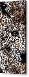 Stone Rock'd Wolf Art By Sharon Cummings Acrylic Print