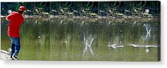 Stone Skipping In Calm Water Acrylic Print