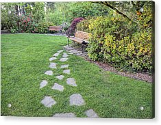 Stone Steps To Park Bench Acrylic Print