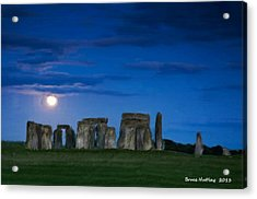 Acrylic Print featuring the painting Stonehenge At Night by Bruce Nutting