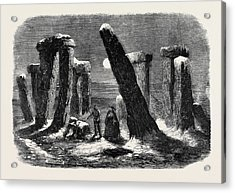 Stonehenge By Moonlight From The New Drama The Borgia Ring Acrylic Print by English School