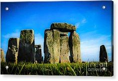 Stonehenge From The Earth Acrylic Print by David Warrington