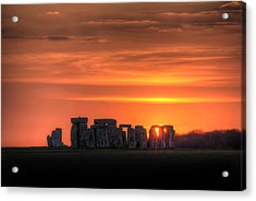 Stonehenge Sunset Acrylic Print by Simon West
