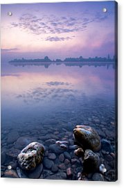 Stones In Purple Dawn Acrylic Print by Davorin Mance