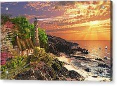 Stoney Cove Lighthouse Acrylic Print by Dominic Davison
