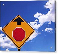 Stop Ahead Acrylic Print by Rona Black
