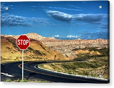 Stop At The Badlands Acrylic Print by Mel Steinhauer