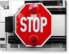 Stop Bw Red Sign Acrylic Print