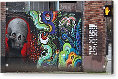 Stop For Skull Mural Graffiti Acrylic Print by Kym Backland