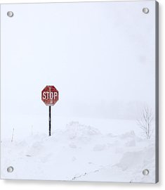 Stop For Snowstorm Acrylic Print