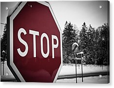 Stop Acrylic Print by Robert Hellstrom