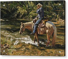 Man On Horse Cooling Feet Acrylic Print by Don  Langeneckert