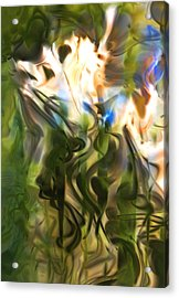 Acrylic Print featuring the digital art Stork In The Music Garden by Richard Thomas