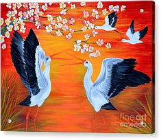 Storks And Cherry Blossom Acrylic Print