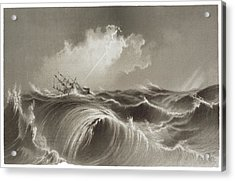 Storm At Sea Engraving Acrylic Print