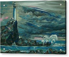 Acrylic Print featuring the pastel Storm Breaking by Peter Suhocke
