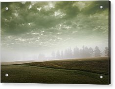 Storm Clouds And Foggy Hills Acrylic Print by Vast Photography