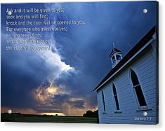 Storm Clouds And Scripture Matthew Country Church Acrylic Print by Mark Duffy