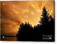 Storm Clouds At Sunset Acrylic Print by Larry Ricker