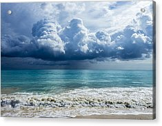 Storm Clouds At Waimanalo Acrylic Print by Leigh Anne Meeks