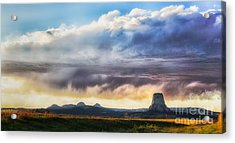 Storm Clouds Over Devils Tower Acrylic Print