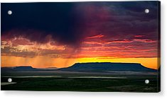 Storm Clouds Over Square Butte Acrylic Print by Renee Sullivan