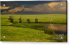 Storm Crossing Prairie 1 Acrylic Print by Robert Frederick