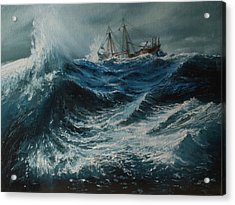Storm In The Sea Acrylic Print by Shobita Sreekumar