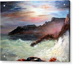 Storm On Mount Desert Island Acrylic Print by Lee Piper