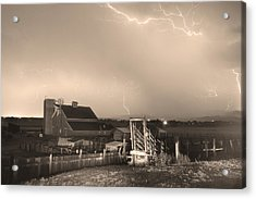 Storm On The Farm In Black And White Sepia Acrylic Print by James BO  Insogna