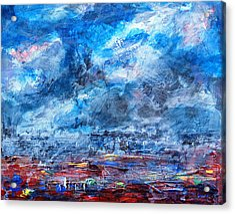Storm Over Flower Fields Acrylic Print by Walter Fahmy
