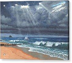 Storm Over Lindisfarne Acrylic Print by Richard Harpum