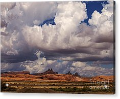 Storm Over Monument Valley Acrylic Print by Janice Rae Pariza