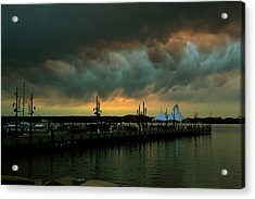Storm Over National Harbor Oil Acrylic Print