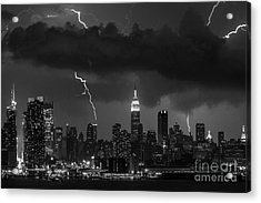 Storm Over Nyc  Acrylic Print by Jerry Fornarotto