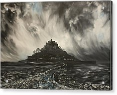 Acrylic Print featuring the painting Storm Over St Michaels Mount Cornwall by Jean Walker